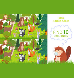 forest animals find differences game educational vector image