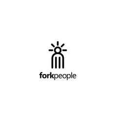fork people logo design concept vector image