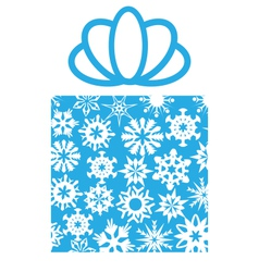 Gift box with snowflakes on white vector image