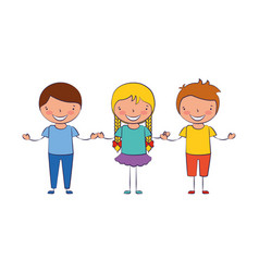 girl and boys holding hands friends vector image