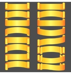 golden ribbons set vector image