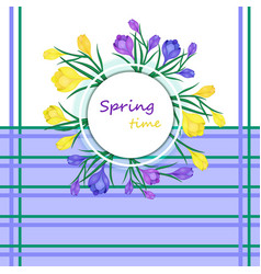 Greeting card with words spring time and vector