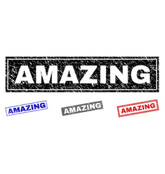Grunge amazing scratched rectangle watermarks vector