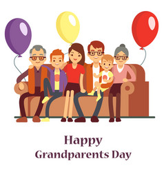 Happy family with grand mother and grandfather vector