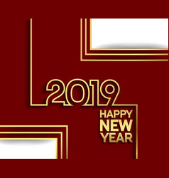 Happy new year 2019 outline golden color vector