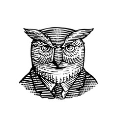 Hipster owl suit woodcut vector