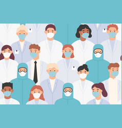 hospital staff pattern doctors and nurses in vector image