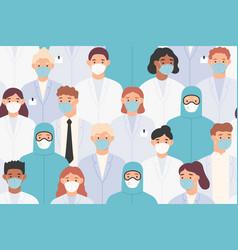 hospital staff pattern doctors and nurses vector image