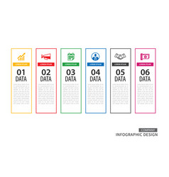 infographics tab in vertical thin line index with vector image