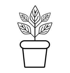 Line plant inside flowerpot to ecology vector