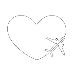 Love airplane route in one continuous line drawing vector
