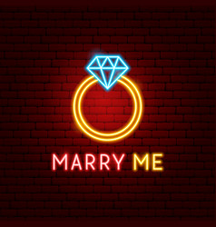marry me neon label vector image