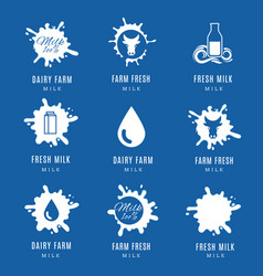 Milk splashes logo set labels with drops and vector