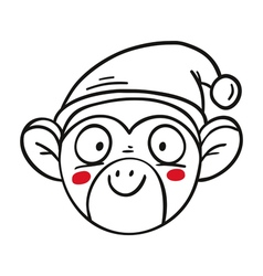 monkey in Santas hat chinese new year 2016 outline vector image