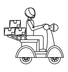 motorcycle courier vehicle vector image