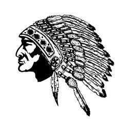 native american chief head design elements vector image