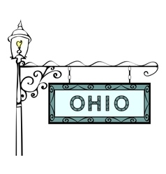 Ohio retro pointer lamppost vector image vector image