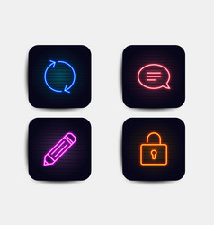 Pencil chat and refresh icons lock sign edit vector