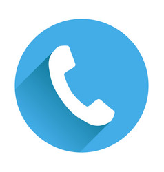 phone icon in flat style on round blue background vector image
