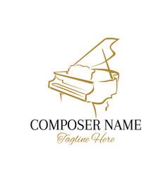 Piano logo design in hand drawn style vector