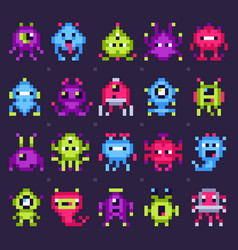 pixel space monsters arcade video games robots vector image
