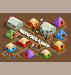 Reception camp isometric background vector