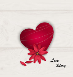 red heart and red flower on white wooden vector image