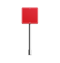 Red square road sign - realistic blank mockup of vector