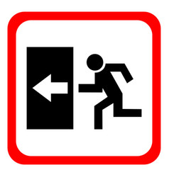 safe sign the exit icon emergency exit red icon vector image