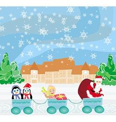 Santa Christmas Train - baby gifts and penguins vector image
