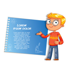 schoolboy pointing at a poster vector image