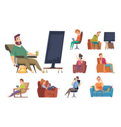 sedentary characters lazy lifestyle people vector image
