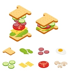 Set constructor isometric sandwich and vector image