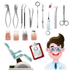 set cute smiling dentist with his modern steel vector image
