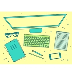 Set linear business office top view screen vector