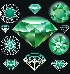 Set of green diamond vector image
