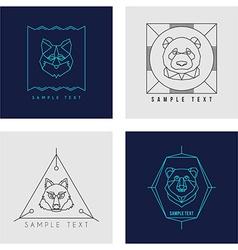 Set of Line Art Badge or Logo Template Wild Animal vector