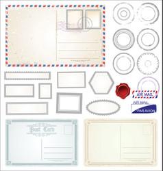set of post stamp symbols vector image