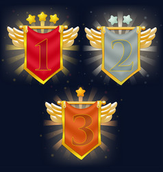 set of victory knight flags with wings and stars vector image