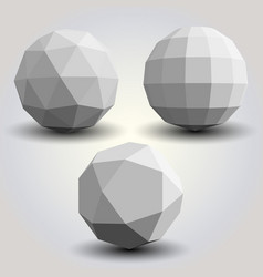 set of white polygonal spheres vector image