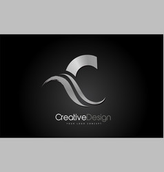 silver metal c letter design brush paint stroke vector image