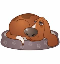 sleepy hound dog vector image