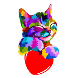Smiling cat hug the heart of love vector