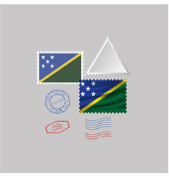 Solomon islands flag postage stamp set isolated vector