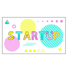 startup poster geometric figures in linear style vector image
