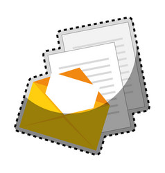 Sticker color silhouette with envelope mail and vector