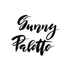 Sunny palette brush lettering vocation cards vector