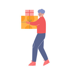 Teenage boy carrying gift boxes decorated vector