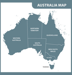 the detailed map of the australia with regions vector image