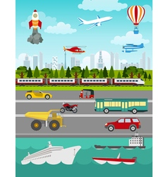 Transport infographics elements Cars trucks public vector